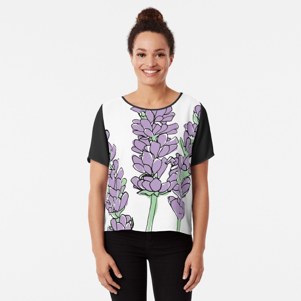 Lavendel-Illustration Chiffon Top