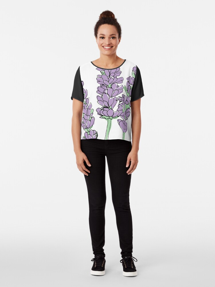 Alternative Ansicht von Lavendel-Illustration Chiffon Top