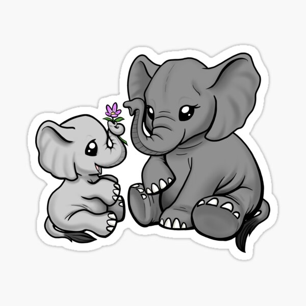 Mama and Baby Elephant Sticker