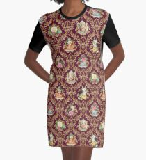 Teatime - Cats, Tea and Books Damask Graphic T-Shirt Dress