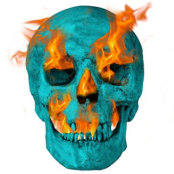 Turquoise Flaming Skull by nicochristo