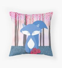 Cute Nursery Fox Flowers Design Throw Pillow