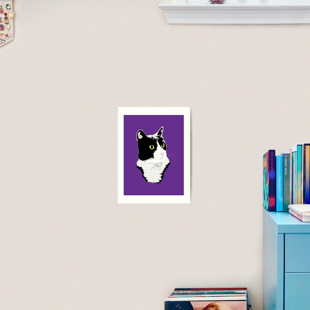 Regal Tuxedo Kitty Art Print