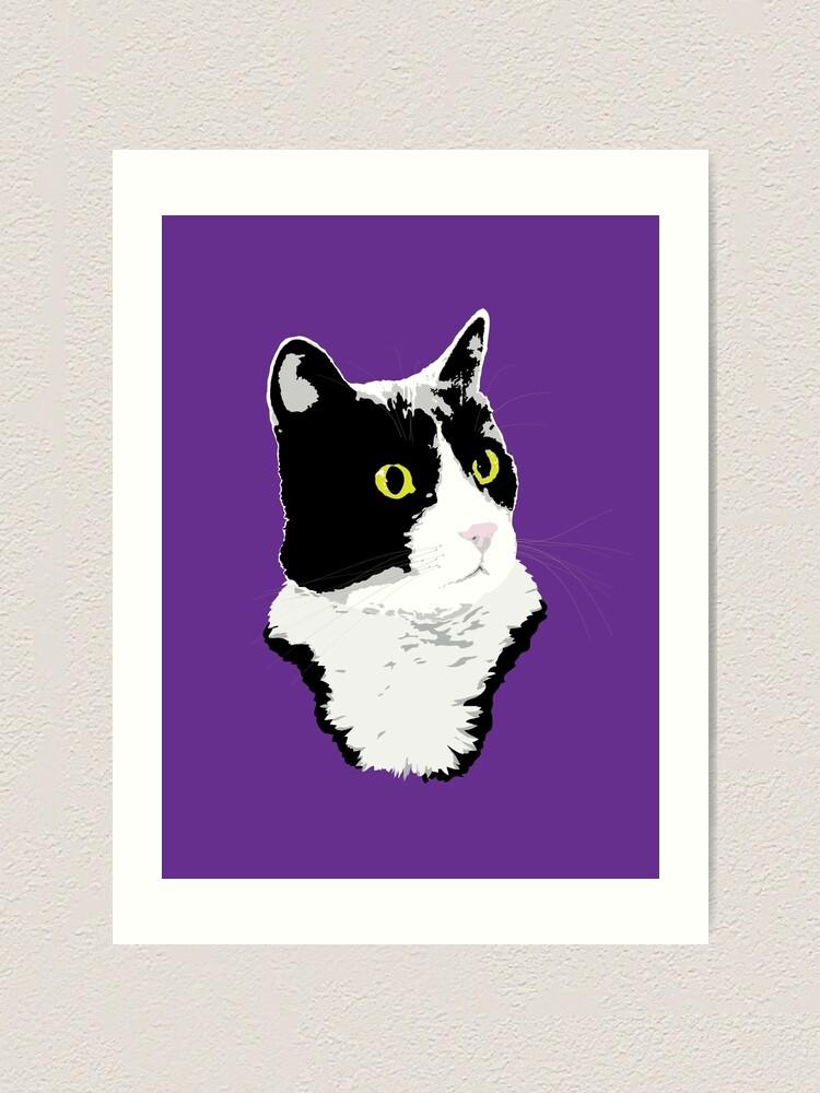 Alternate view of Regal Tuxedo Kitty Art Print