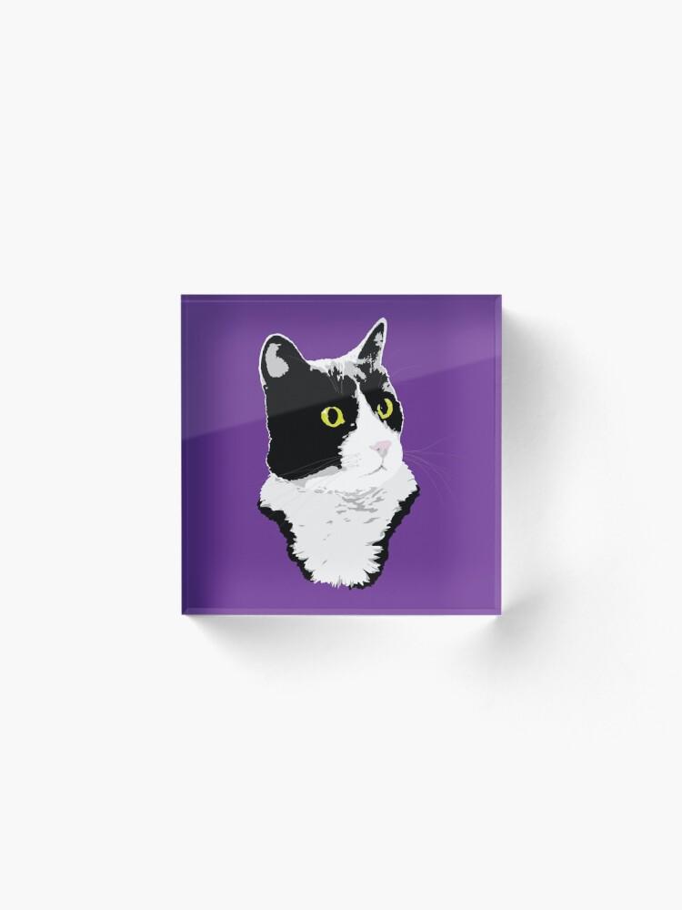 Alternate view of Regal Tuxedo Kitty Acrylic Block