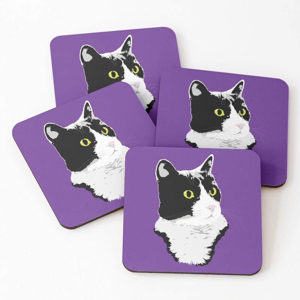 Regal Tuxedo Kitty Coasters (Set of 4)
