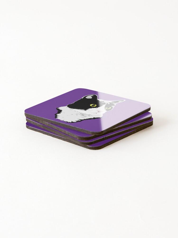 Alternate view of Regal Tuxedo Kitty Coasters (Set of 4)