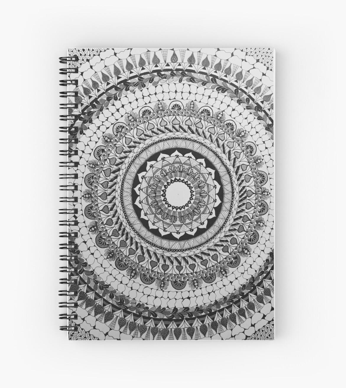 Cuadernos De Espiral Mandala Blanco Y Negro De Jannyd Redbubble