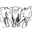 Baby Elephants in Ink by CaileyB