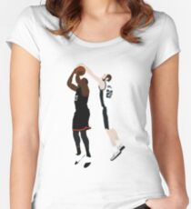 Manu Ginobili Block On James Harden Women's Fitted Scoop T-Shirt