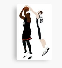 Manu Ginobili Block On James Harden Canvas Print
