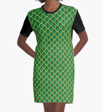 Dragon Scales (Green) Graphic T-Shirt Dress