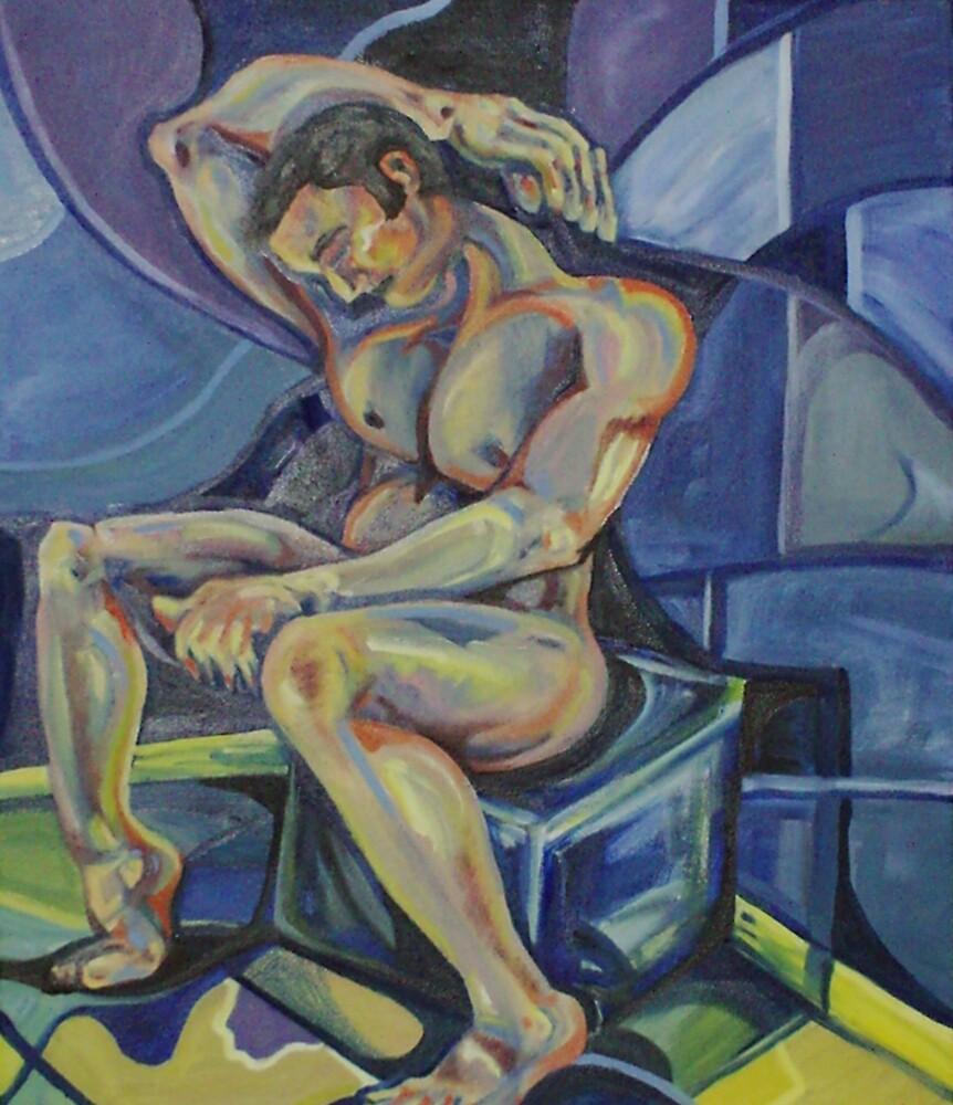 Shame (Male Nude) (Oils)- by Robert Dye