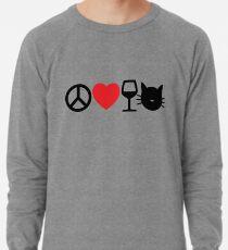 Peace, Love, Wine and Cats Lightweight Sweatshirt
