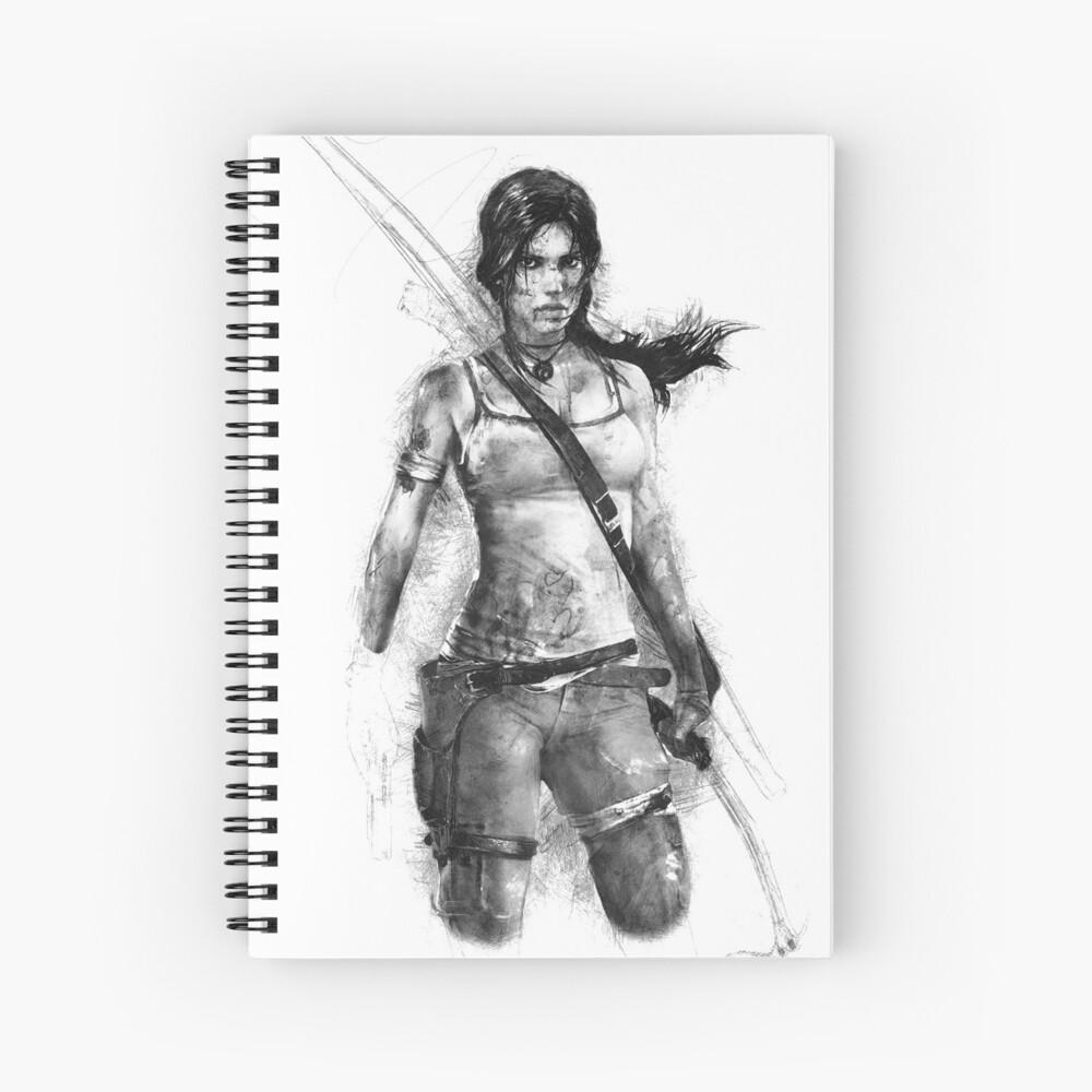 Lara Croft Drawing Spiral Notebook
