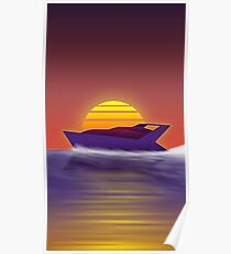 1980's Sunset Yacht Poster