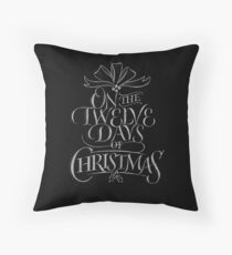 Chalkboard Lettering '12 Days of Christmas' Elegant Modern Chalk Carol Throw Pillow