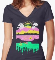 Happy Lake Women's Fitted V-Neck T-Shirt
