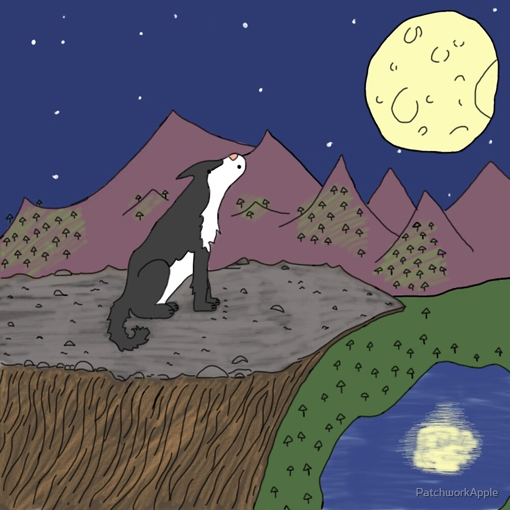 Wolf Howling at the Moon by PatchworkApple