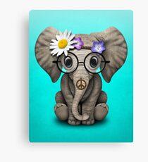 Cute Baby Elephant Hippie Canvas Print