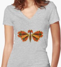 Fractal Butterfly Fitted V-Neck T-Shirt