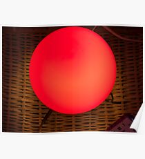 Red bedside table light and alarm clock Poster