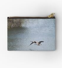 Flying Canada Geese, Jersey City, New Jersey Studio Pouch
