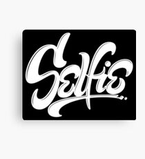 Awesome Skateboard Graffiti Selfie Street Art Lettering - Wicked White on Black Canvas Print