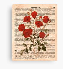 Red Roses on 1 Corinthians 13 Canvas Print