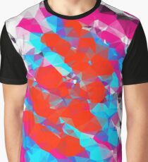 psychedelic geometric polygon abstract in pink red blue Graphic T-Shirt