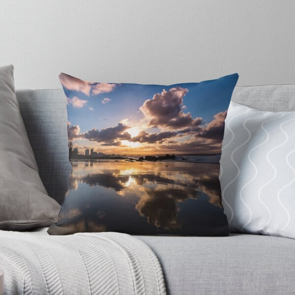 Mirrored Sunset Throw Pillow
