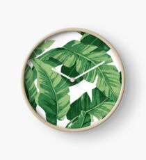 Tropical banana leaves II Clock