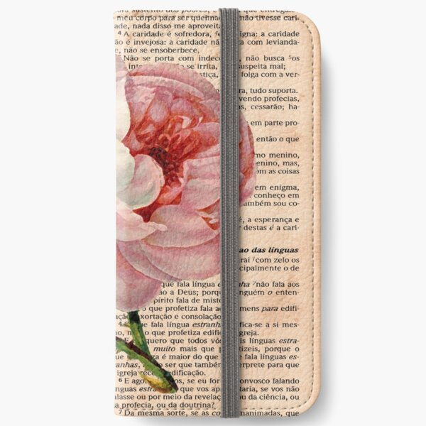 Pink Roses on 1 Corinthians 13 iPhone Wallet