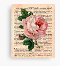 Pink Roses on 1 Corinthians 13 Canvas Print
