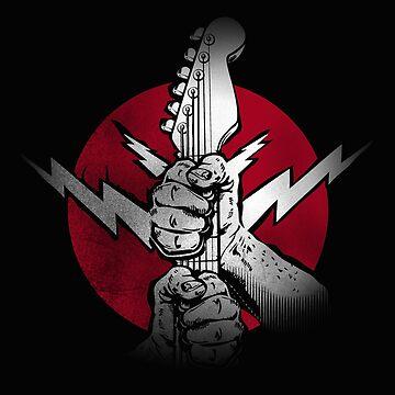 Guitar Hands Rock Music Lightning Bolt by GarnetLeslie