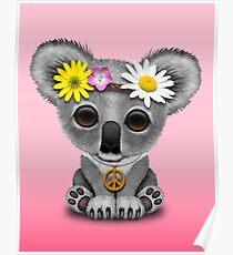Cute Baby Koala Hippie on Pink Poster