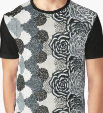 Gray Flower Design Graphic T-Shirt