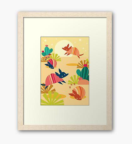 Happy Armadillos Framed Print