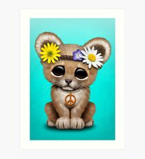 Cute Hippie Lion Cub  Art Print