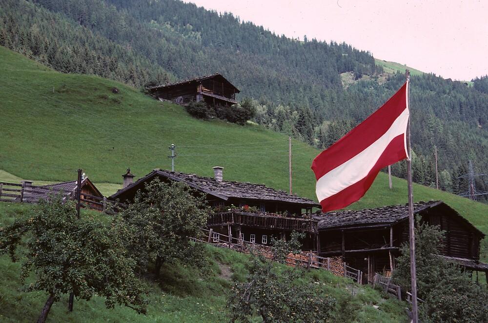 Austrian Flag at Hintertux by bertspix