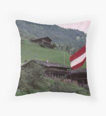 Austrian Flag at Hintertux Throw Pillow