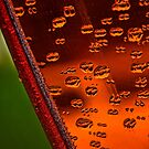 Raindrops and shiny orange abstract by Celeste Mookherjee