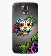 Smiling Pit Bull in White - Day of the Dead Pitbull - Sugar Skull Dog Case/Skin for Samsung Galaxy