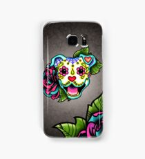 Smiling Pit Bull in White - Day of the Dead Pitbull - Sugar Skull Dog Samsung Galaxy Case/Skin