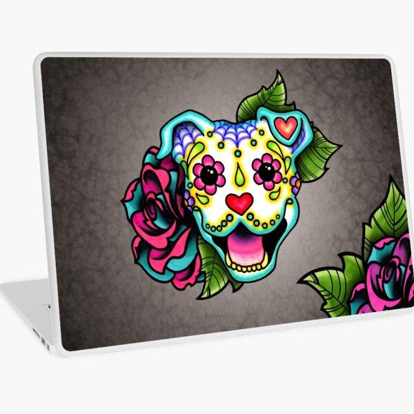Smiling Pit Bull in White - Day of the Dead Pitbull - Sugar Skull Dog Laptop Skin
