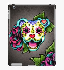Smiling Pit Bull in White - Day of the Dead Pitbull - Sugar Skull Dog iPad Case/Skin