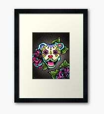 Smiling Pit Bull in White - Day of the Dead Pitbull - Sugar Skull Dog Framed Print