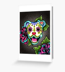 Smiling Pit Bull in White - Day of the Dead Pitbull - Sugar Skull Dog Greeting Card