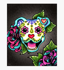 Smiling Pit Bull in White - Day of the Dead Pitbull - Sugar Skull Dog Photographic Print