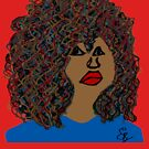 Natural Hair Curly Afro Wavy Curls Red Lips Queen by EllenDaisyShop